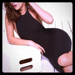 Reformation Zee Halter Midi Bodycon Dress: Black